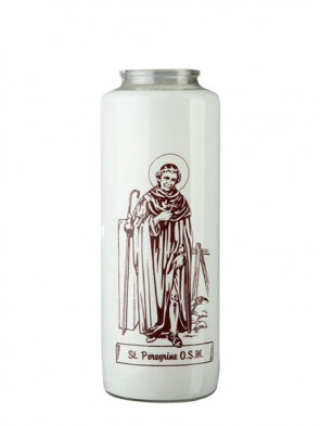 Dadant Candle Saint Peregrine 6-Day, Glass Devotional Candle - Case Of 12 Candles