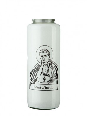 Dadant Candle Saint Pius X 6-Day, Glass Devotional Candle - Case Of 12 Candles
