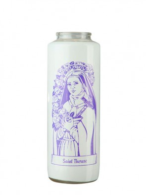 Dadant Candle Saint Thérèse of Lisieux 6-Day, Glass Devotional Candle - Case of 12 Candles