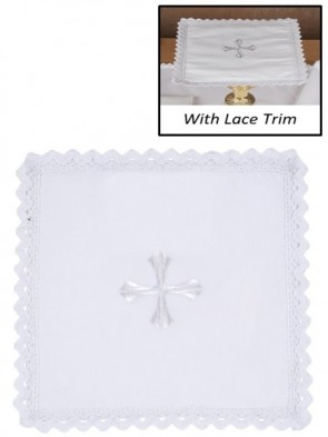 R.J. Toomey 100% Cotton Embroidered Cross with Lace Chalice Pall with Insert - Pack of 4