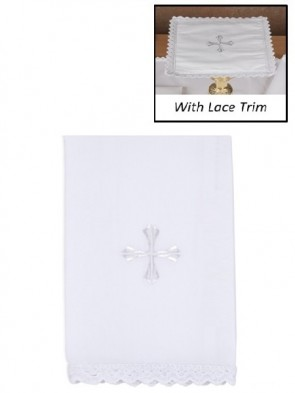 R.J. Toomey 100% Cotton Embroidered Cross with Lace Lavabo Towel - Pack of 4
