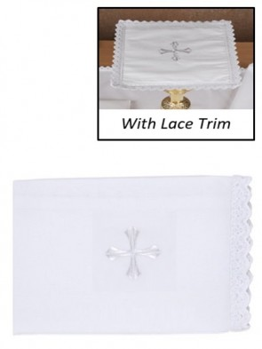 R.J. Toomey 100% Cotton Embroidered Cross with Lace Purificator - Pack of 4