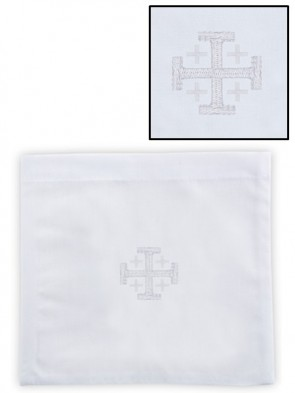 R.J. Toomey 100% Cotton Jerusalem Cross Chalice Pall with Insert - Pack of 4