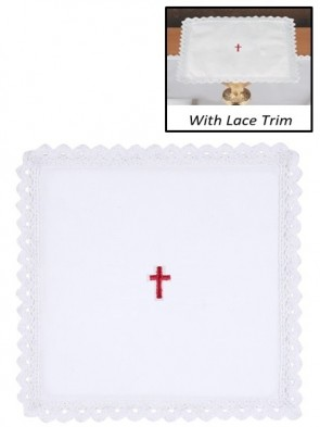 R.J. Toomey 100% Cotton Red Cross with Lace Chalice Pall with Insert - Pack of 4