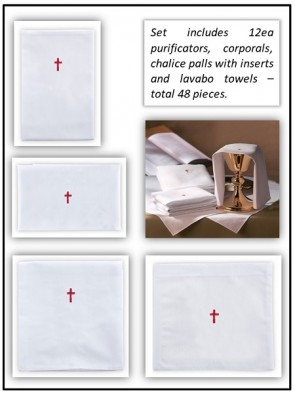 R.J. Toomey 100% Cotton Red Cross Linen Set - Pack of 48 Linens