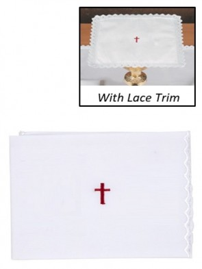 R.J. Toomey 100% Cotton Red Cross with Lace Purificator - Pack of 4