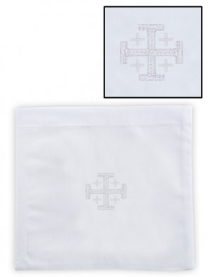 R.J. Toomey 100% Linen Jerusalem Cross Chalice Pall with Insert - Pack of 4