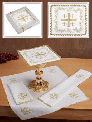 R.J. Toomey 100% Linen Jerusalem Cross Four-Piece Linen Set