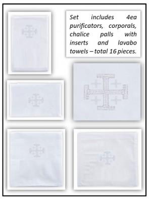 R.J. Toomey 100% Linen Jerusalem Cross Linen Set - Pack of 16 Linens