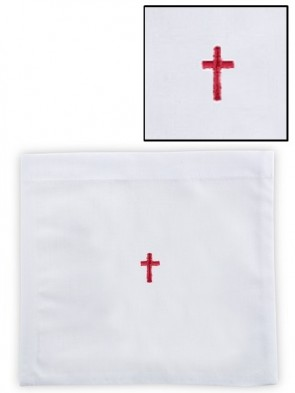 R.J. Toomey 100% Linen Red Cross Chalice Pall with Insert - Pack of 12