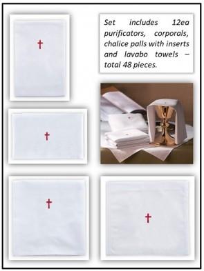 R.J. Toomey 100% Linen Red Cross Linen Set - Pack of 48 Linens