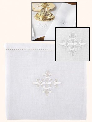 R.J. Toomey 100% Linen Fleur-de-Lis Chalice Pall with Insert - Pack of 3