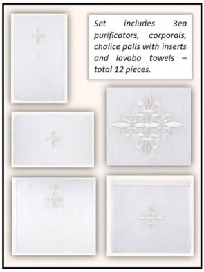 R.J. Toomey 100% Linen Fleur-de-Lis Linen Set - Pack of 12 Linens
