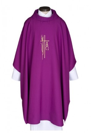 R.J. Toomey Alpha Omega Collection Purple Monastic Chasuble With Cowl Neck And Inner Stole