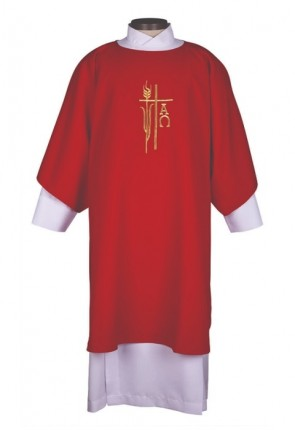 R.J. Toomey Alpha Omega Collection Red Dalmatic With Inner Stole