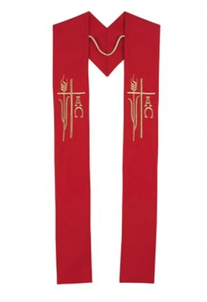 R.J. Toomey Alpha Omega Collection Red Overlay Stole
