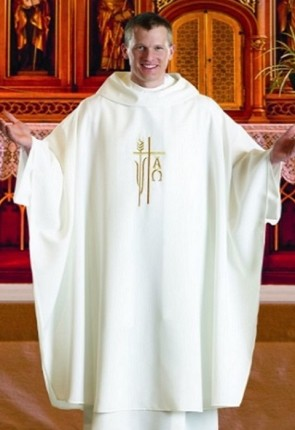 R.J. Toomey Alpha Omega Collection White Monastic Chasuble With Cowl Neck And Inner Stole