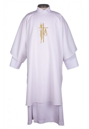 R.J. Toomey Alpha Omega Collection White Dalmatic With Inner Stole