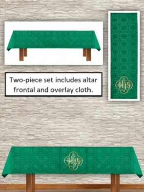R.J. Toomey Avignon Collection Green Altar Frontal and Overlay Cloth Set