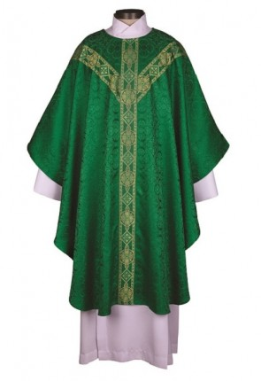 R.J. Toomey Avignon Collection Green Semi-Gothic Chasuble With Inner Stole
