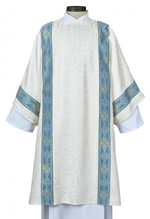R.J. Toomey Avignon Collection Ivory/Blue Dalmatic with Inner Stole