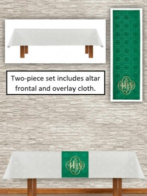 R.J. Toomey Avignon Collection Ivory/Green Altar Frontal and Overlay Cloth Set