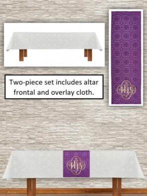 R.J. Toomey Avignon Collection Ivory/Purple Altar Frontal and Overlay Cloth Set
