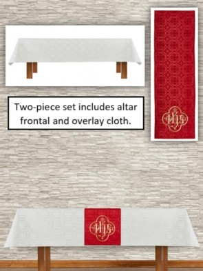 R.J. Toomey Avignon Collection Ivory/Red Altar Frontal and Overlay Cloth Set