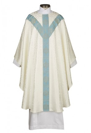 R.J. Toomey Avignon Collection Ivory/Blue Semi-Gothic Chasuble With Inner Stole