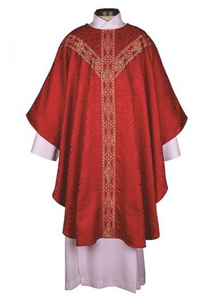 R.J. Toomey Avignon Collection Red Semi-Gothic Chasuble With Inner Stole