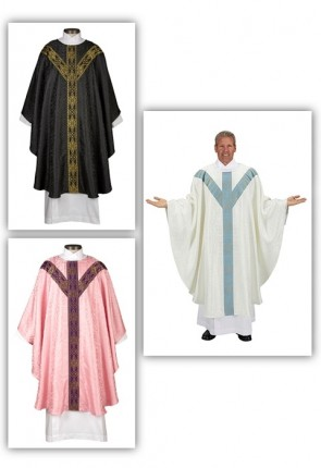 R.J. Toomey Avignon Collection Set Of Three Semi-Gothic Chasubles With Inner Stoles