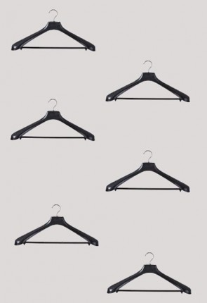 R.J. Toomey Black, Molded Plastic Hangers - Set Of 6 Hangers