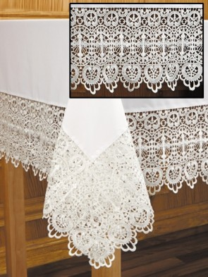 R.J. Toomey Budded Cross Lace White Altar Frontal