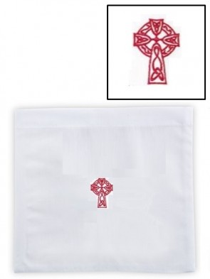 R.J. Toomey Cotton/Linen Celtic Cross Chalice Pall with Insert - Pack of 3