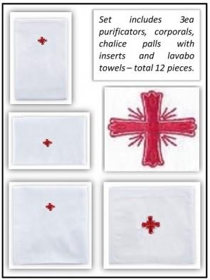 R.J. Toomey Cotton/Linen Greek Cross Linen Set - Pack of 12 Linens