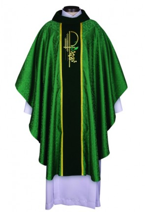 R.J. Toomey Eucharistic Jacquard Collection Green Chasuble With Velvet Cowl Neck And Inner Stole