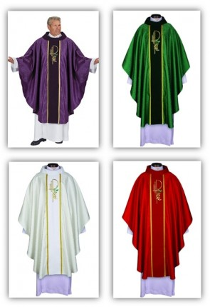 R.J. Toomey Eucharistic Jacquard Collection Set Of Four Chasubles With Velvet Cowl Neck And Inner Stoles