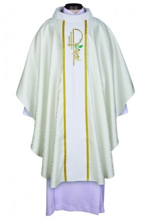 R.J. Toomey Eucharistic Jacquard Collection White Chasuble With Velvet Cowl Neck And Inner Stole