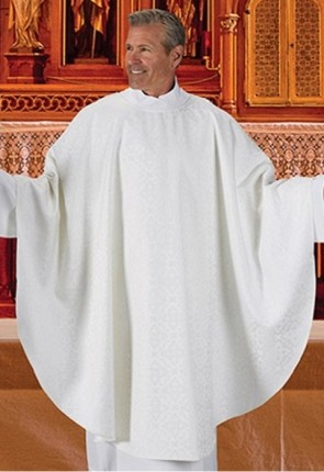 R.J. Toomey Everyday Jacquard Collection White Chasuble With Inner Stole