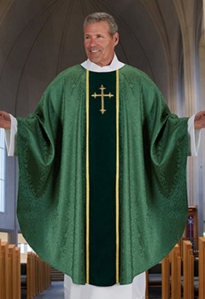 R.J. Toomey Fleur-de-Lis Cross Jacquard Collection Green Chasuble With Inner Stole