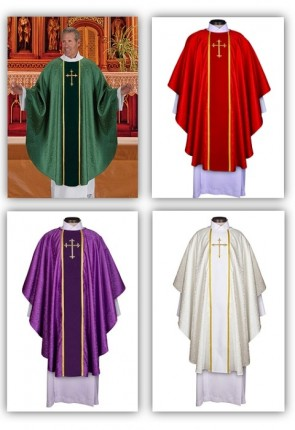 R.J. Toomey Fleur-de-Lis Cross Jacquard Collection Set Of Four Chasubles With Inner Stoles