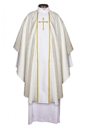 R.J. Toomey Fleur-de-Lis Cross Jacquard Collection White Chasuble With Inner Stole