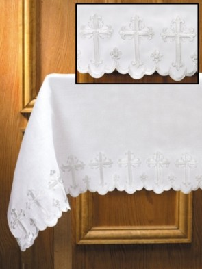 R.J. Toomey Fleur-De-Lis Cross White, Two-Sided Linen Altar Frontal