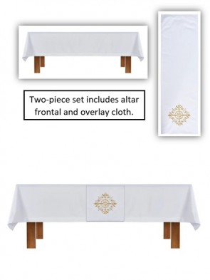 R.J. Toomey Holy Trinity Collection White Altar Frontal and Overlay Cloth Set