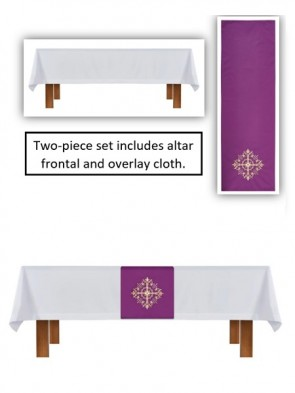 R.J. Toomey Holy Trinity Collection White/Purple Altar Frontal and Overlay Cloth Set