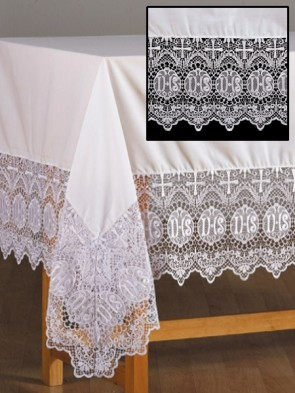 R.J. Toomey IHS Lace White Altar Frontal