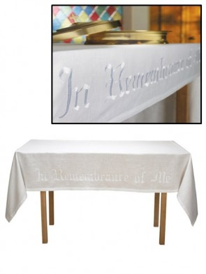 "R.J. Toomey ""In Remembrance of Me"" White Linen Altar Frontal"