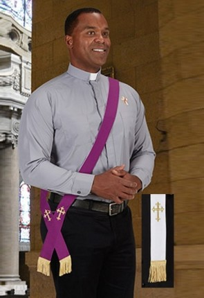 R.J. Toomey Portable Purple/White Reversible Deacon Stole