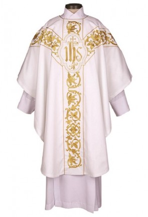 R.J. Toomey Roma Collection White Chasuble With Inner Stole