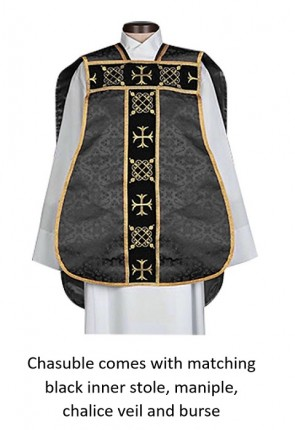 "R.J. Toomey Roman ""Fiddleback"" Black IHS Chasuble With Accessories"
